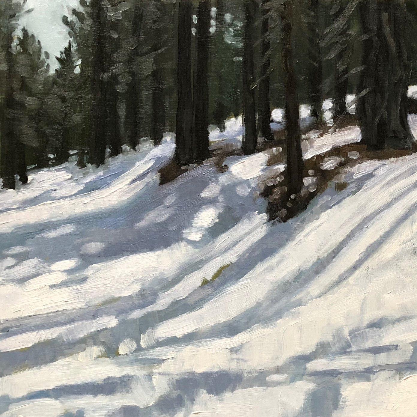 "Snow Trails  9x16"" oil on birch panel"