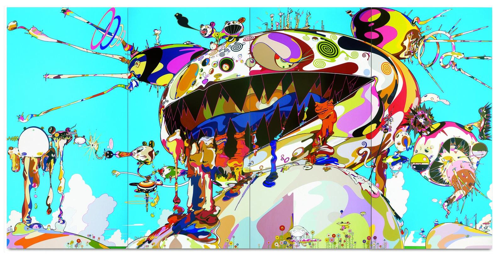 Takashi Murakami in the gallery
