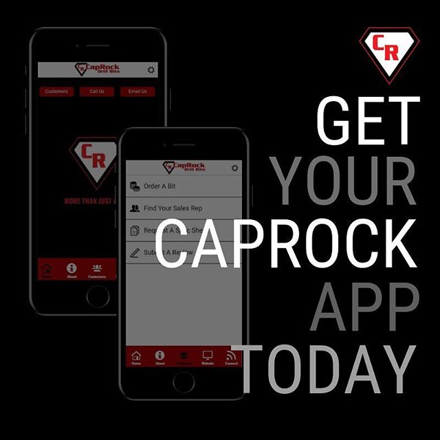 We have BIG news: Our new CapRock mobile app is now LIVE!  Our app is easy-to-use while in the field and makes ordering your drill bits a breeze, guarantees fast response time from your personal field representative and so much more.  You can find our app on the Apple Store and Google Play or you can download at the link in our bio!