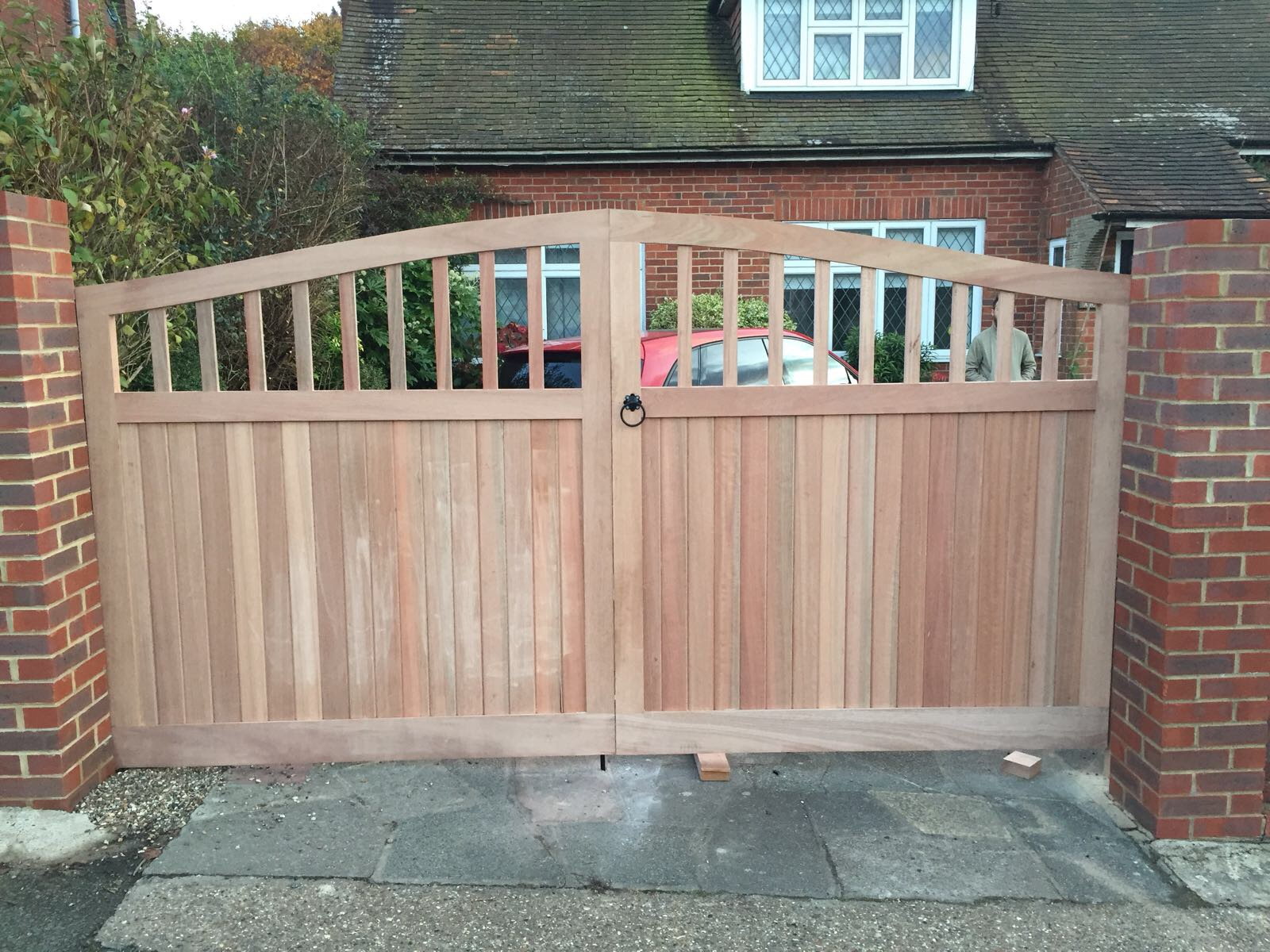 - Gates were hung in a couple hours and are ready for the painter to go to work on them.