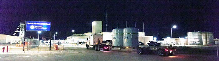 A truck arrives at the Waste Isolation Pilot Plant with the first shipment of transuranic waste to be shipped to the site after its reopening in January. Photo courtesy of U.S Department of Energy