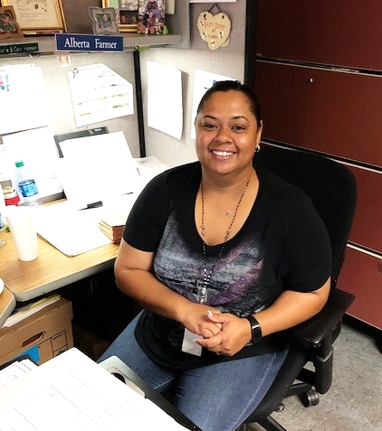 Alberta Farmer is a TFE employee in Carlsbad, NM. She is a mailroom clerk supporting the WIPP Records Services contract.