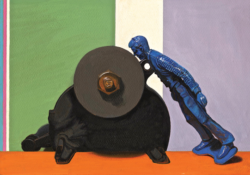 It's a Grind/ Still Life with Toy and Grinding Wheel  , 2014, oil on panel, 13 x 9 inches