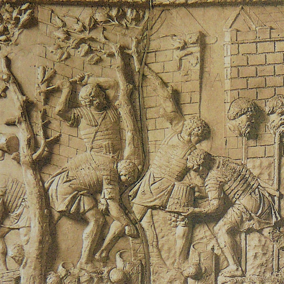 A relief of Romans felling trees for construction on Trajan's Column
