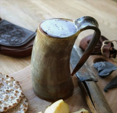 Check out our handmade bull horn tankards for your libations! -