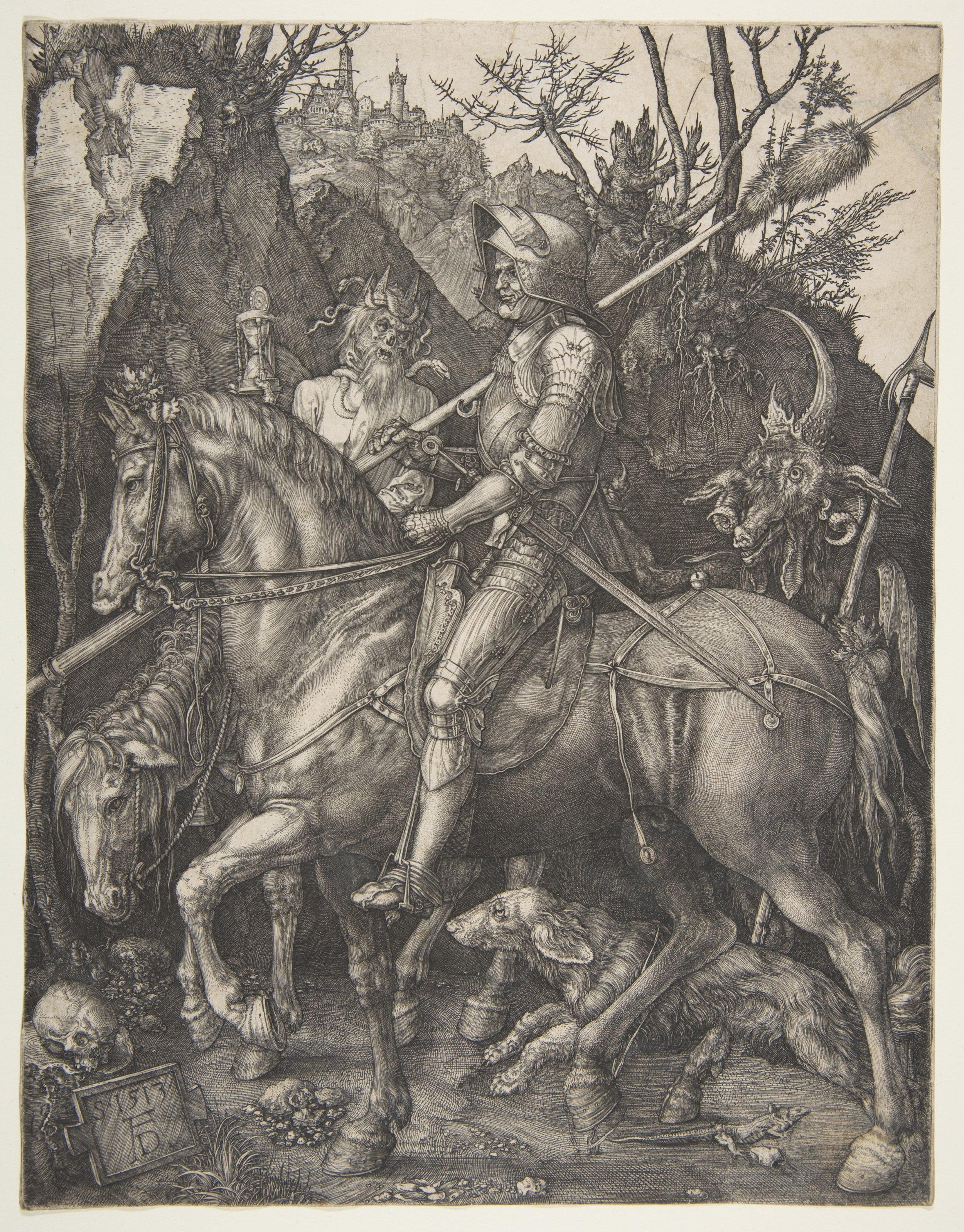 "Albrecht Dürer.  Knight, Death, and the Devil . Engraving. 9 9/16 x 7 3/8"". 1513."