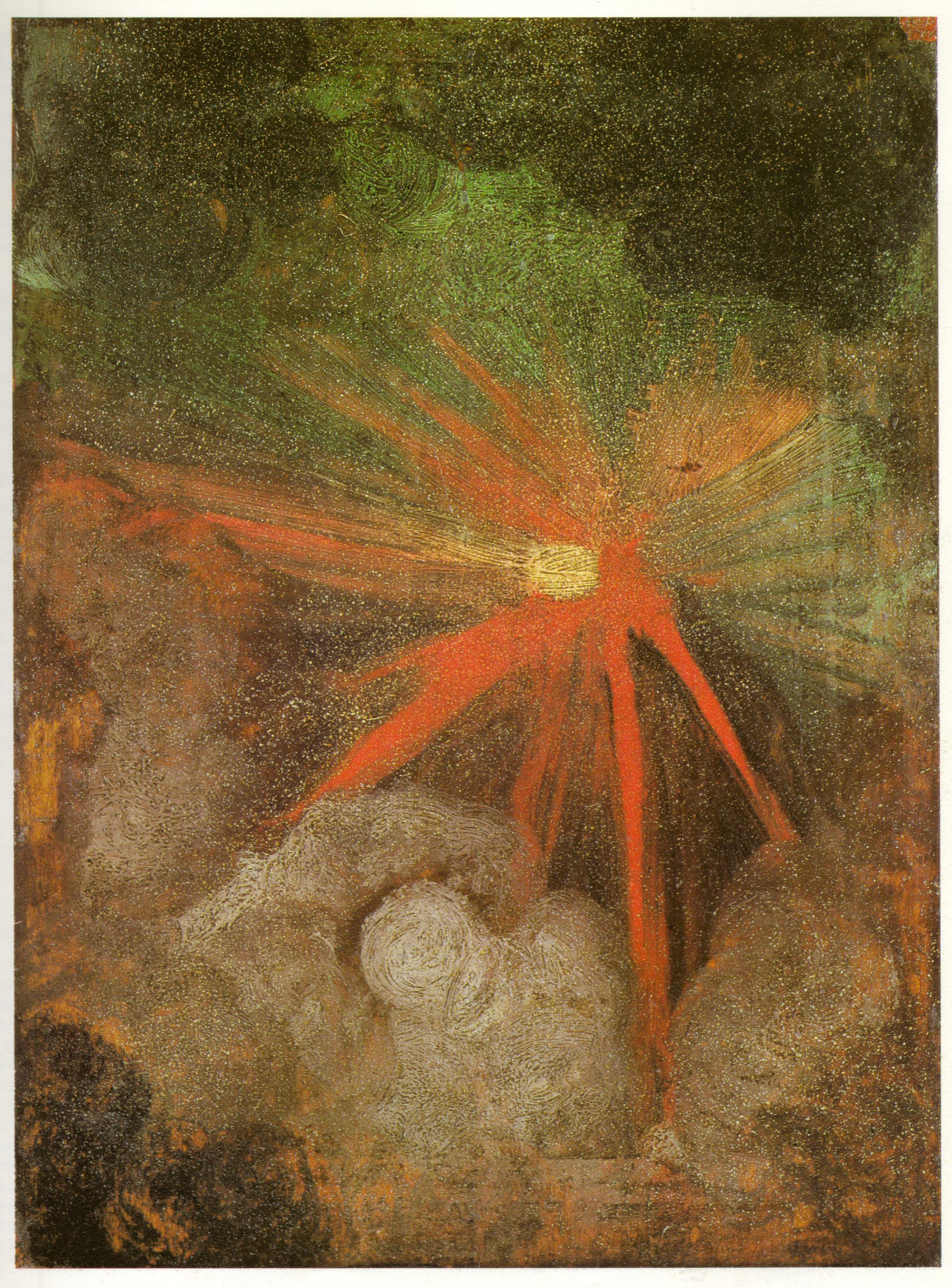"""Albrecht Dürer.  Comet . Painted on the reverse of  St. Jerome in the Wilderness . Oil on panel. 9.1 x 6.7"""". 1495-96."""