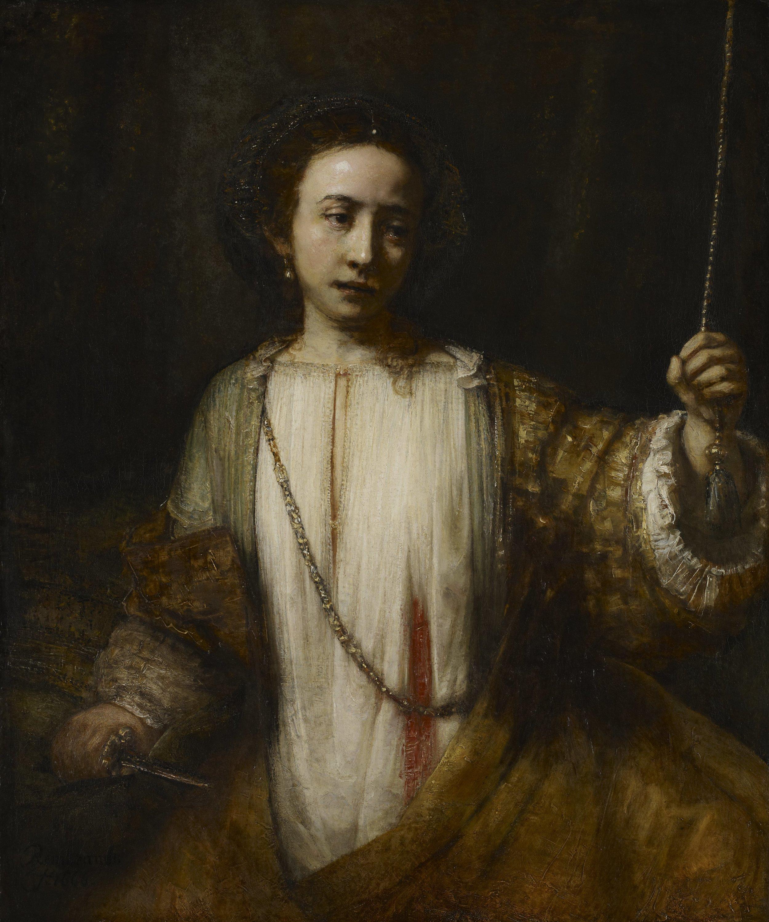 "Rembrandt van Rijn.  Lucretia.  Oil on Canvas. 43.4 x 36.3"". 1666."