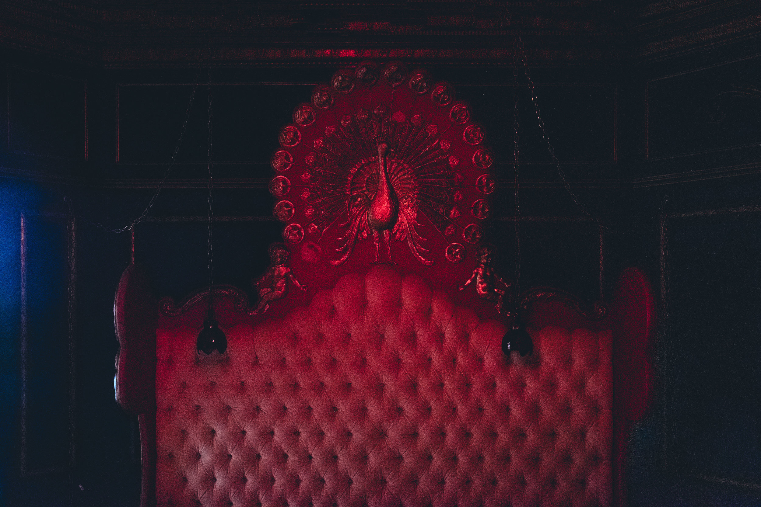 The Peacock Room is the only room in the entire penthouse with red lightbulbs.