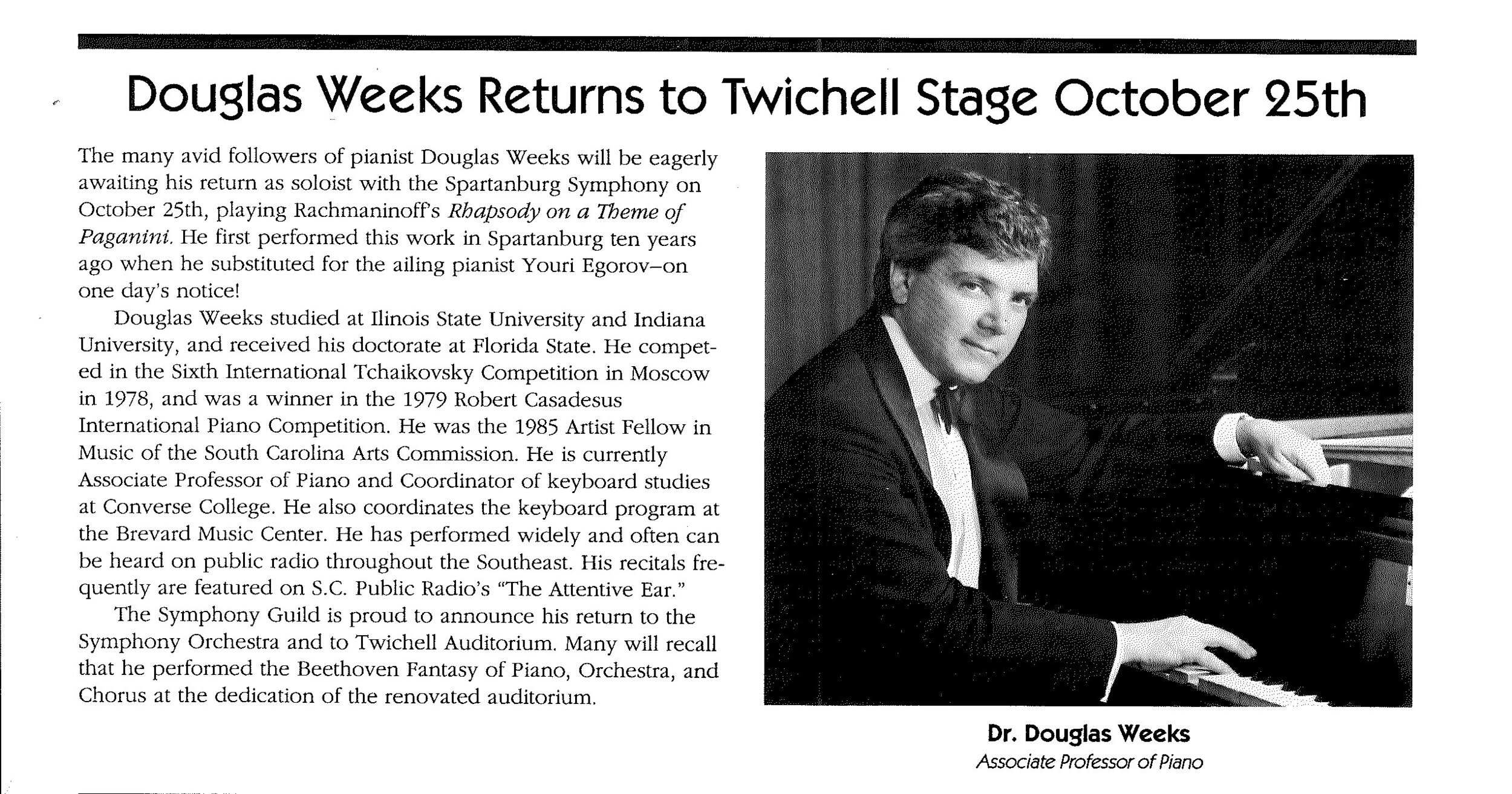 Article in the Fall 1994  Spartanburg Symphony Newsletter  highlighting guest soloist Dr. Douglass Weeks