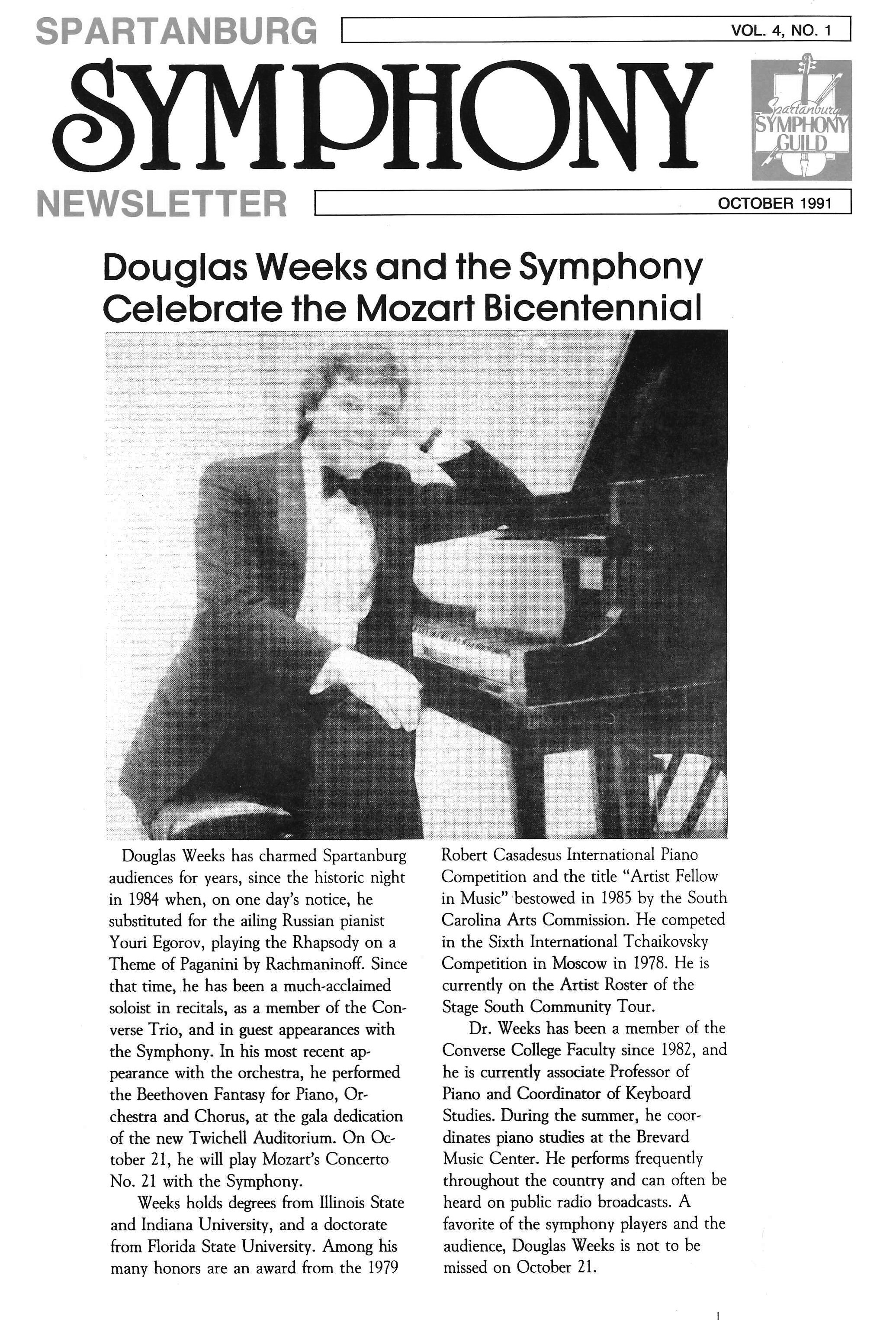Article in the October 1991  Spartanburg Symphony Newsletter  highlighting guest soloist Dr. Douglass Weeks