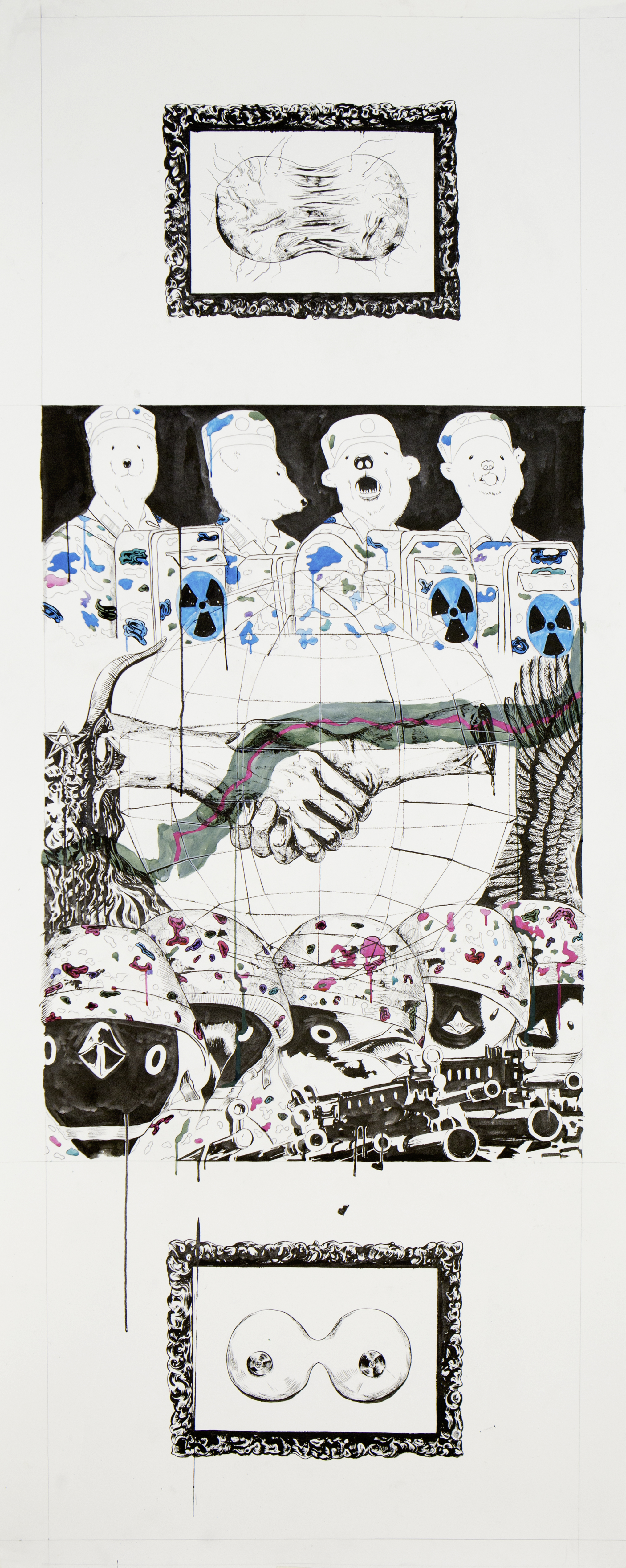 N vs S, 2018 Black ink and pigment on paper 154x62.5cm
