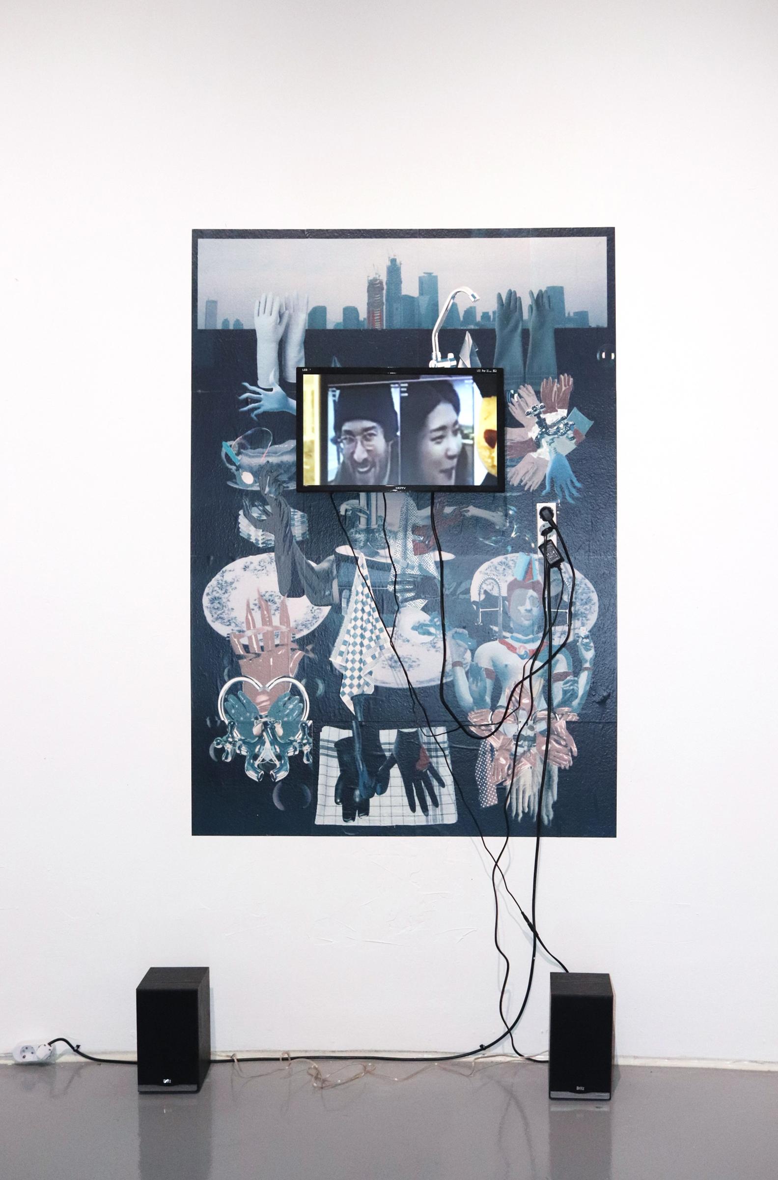 Untitled installation, Happyland William Ludwig Lutgens와의 협동작업, 2019 Video by William Ludwig Lutgens /Print by Che Go Eun 200cm x 100cm