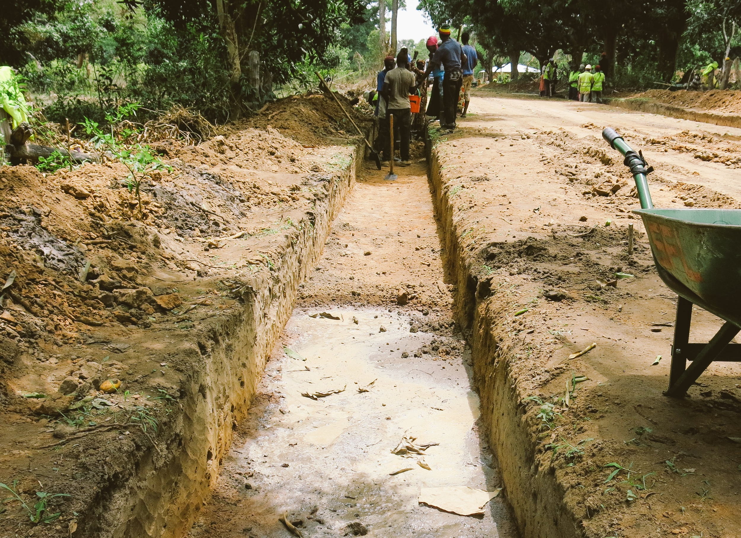 Drainage ditch ready for reinforcement