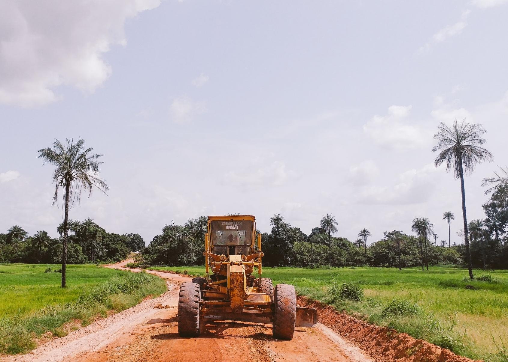 Preparing the roadbeds using heavy machinery