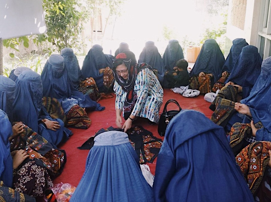 Women attending the Balochi Embroidery Training course