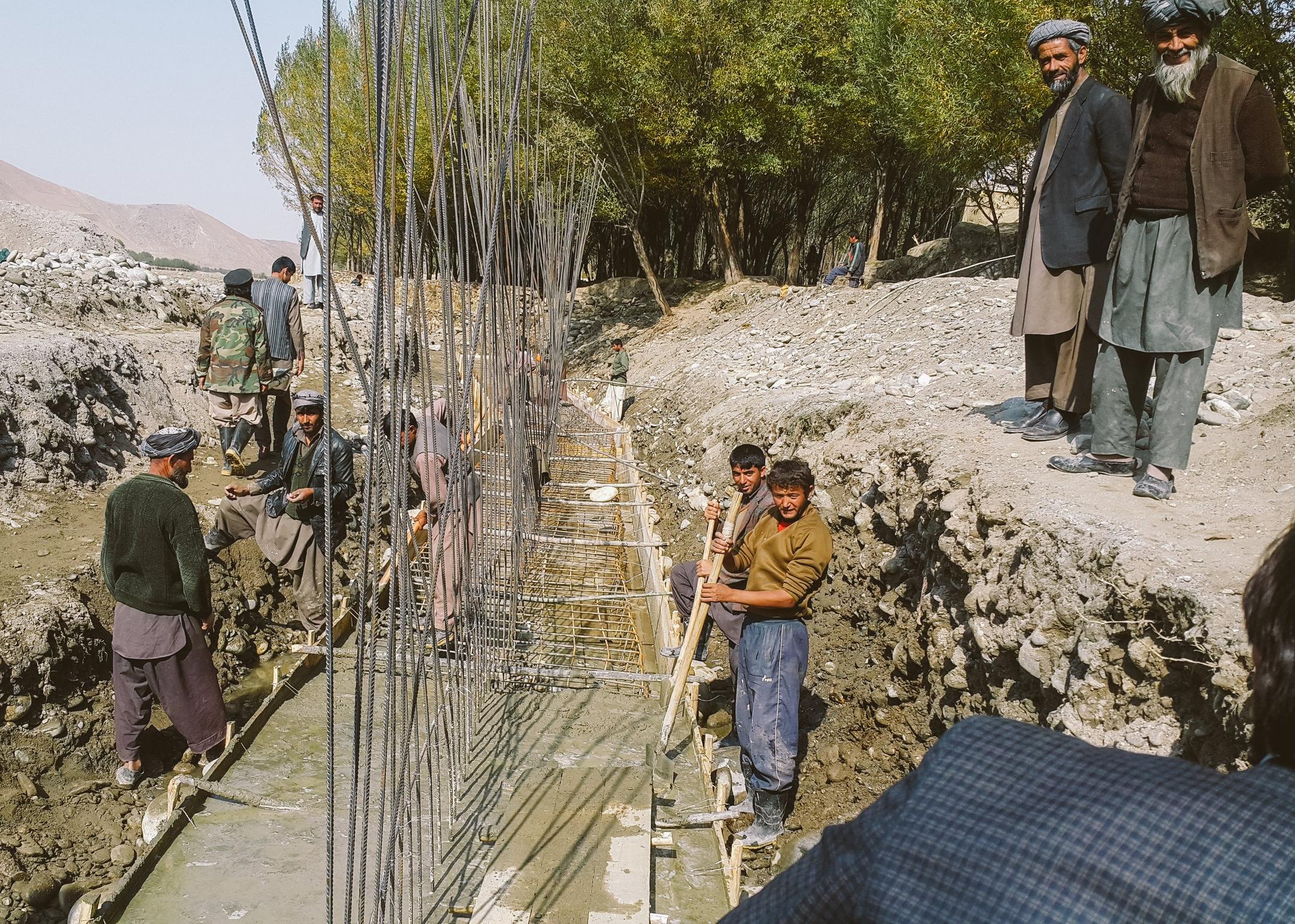 Working on irrigation infrastructure