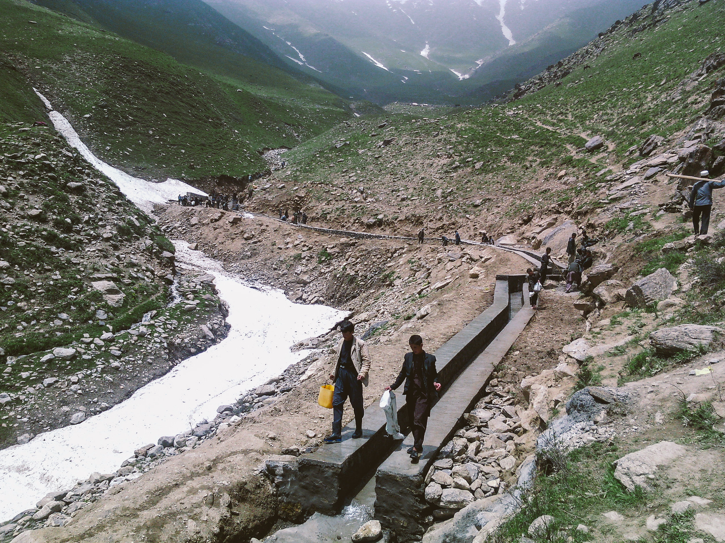 Construction of irrigation canals that will channel water to farmers for irrigation