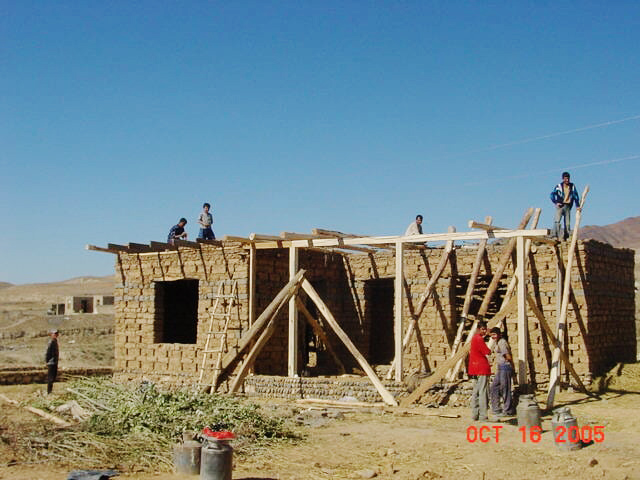One of the transitional shelters coming along