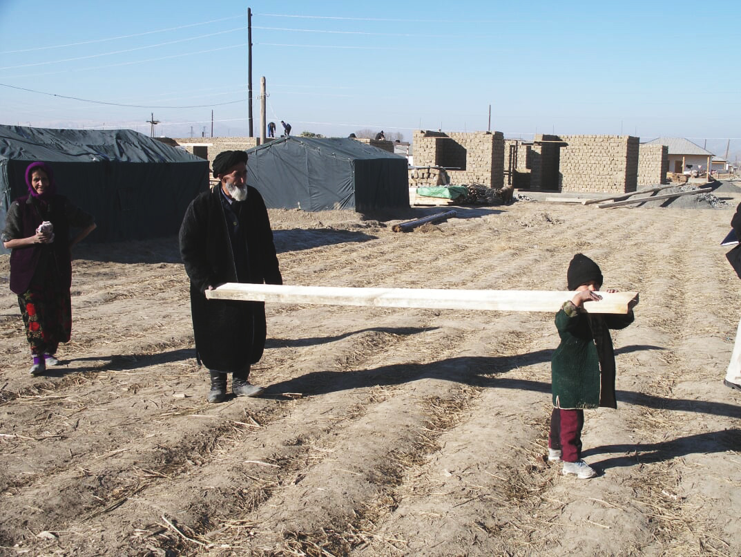 Even the children were excited to help build the shelters!
