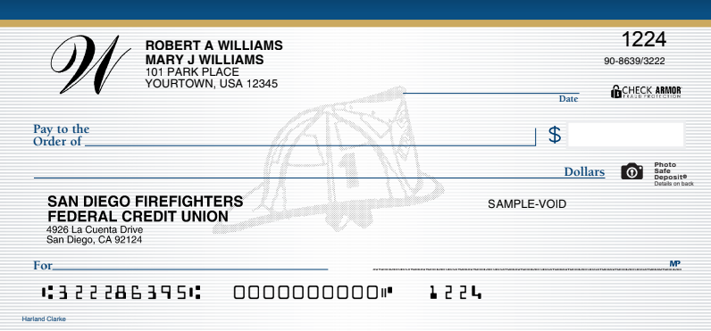 San Diego Fire Fighters Credit Union Check