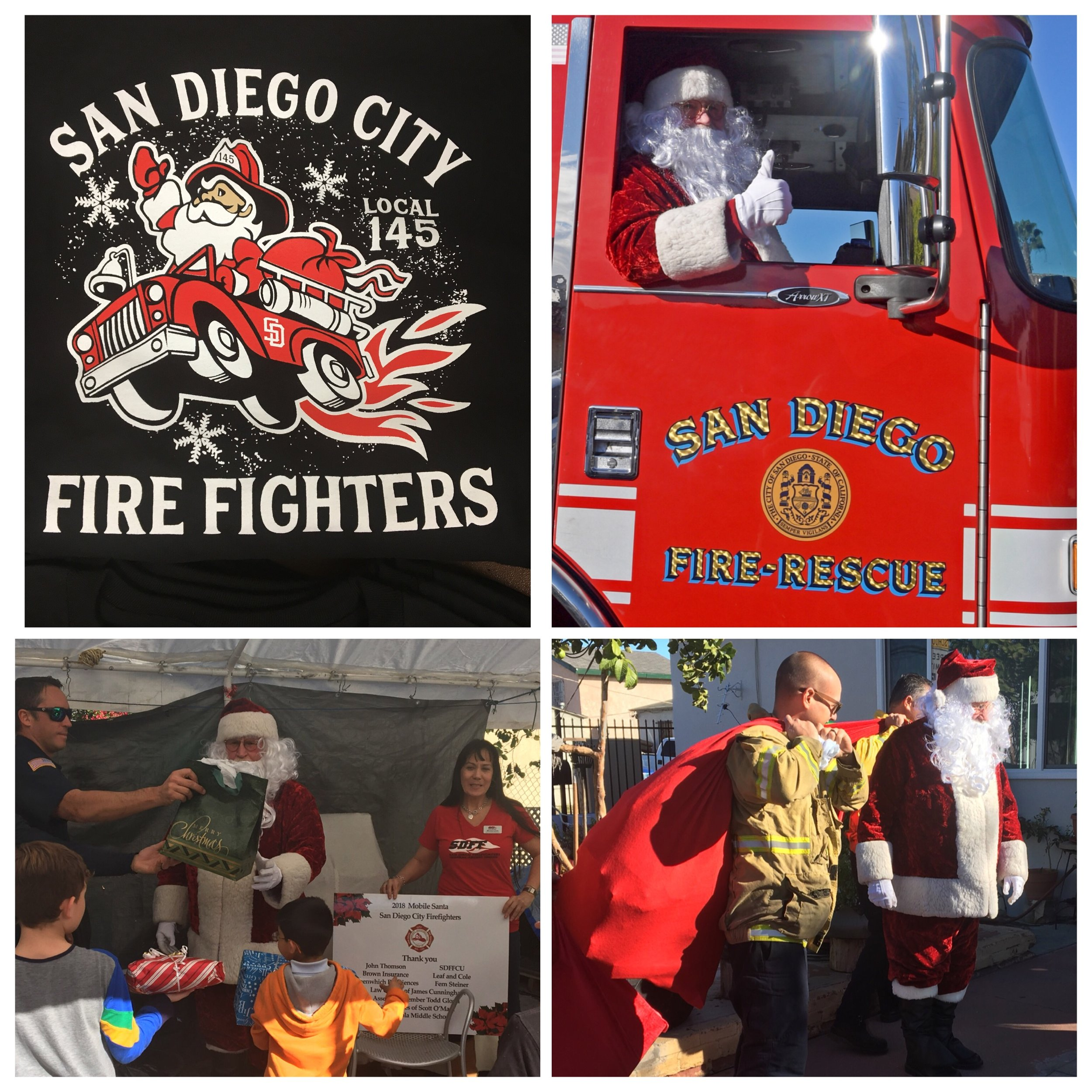 - The Annual Mobile Santa took place this past Saturday (December 15)This year, San Diego City Firefighters were able to make wishes come true for 9 families as well as hand out toys to hundreds of children throughout the communities of Shelltown, Southcrest and Mountain View.The staff of San Diego Firefighters Federal Credit Union are proud veteran Mobile Santa supporters.
