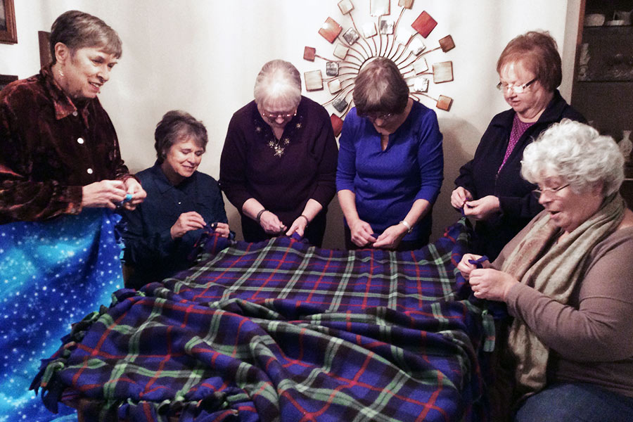 What's Your Knack?  We tie fleece blankets for several of our charities.