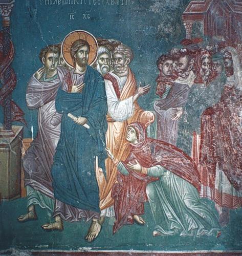 Jesus heals woman with flow of blood