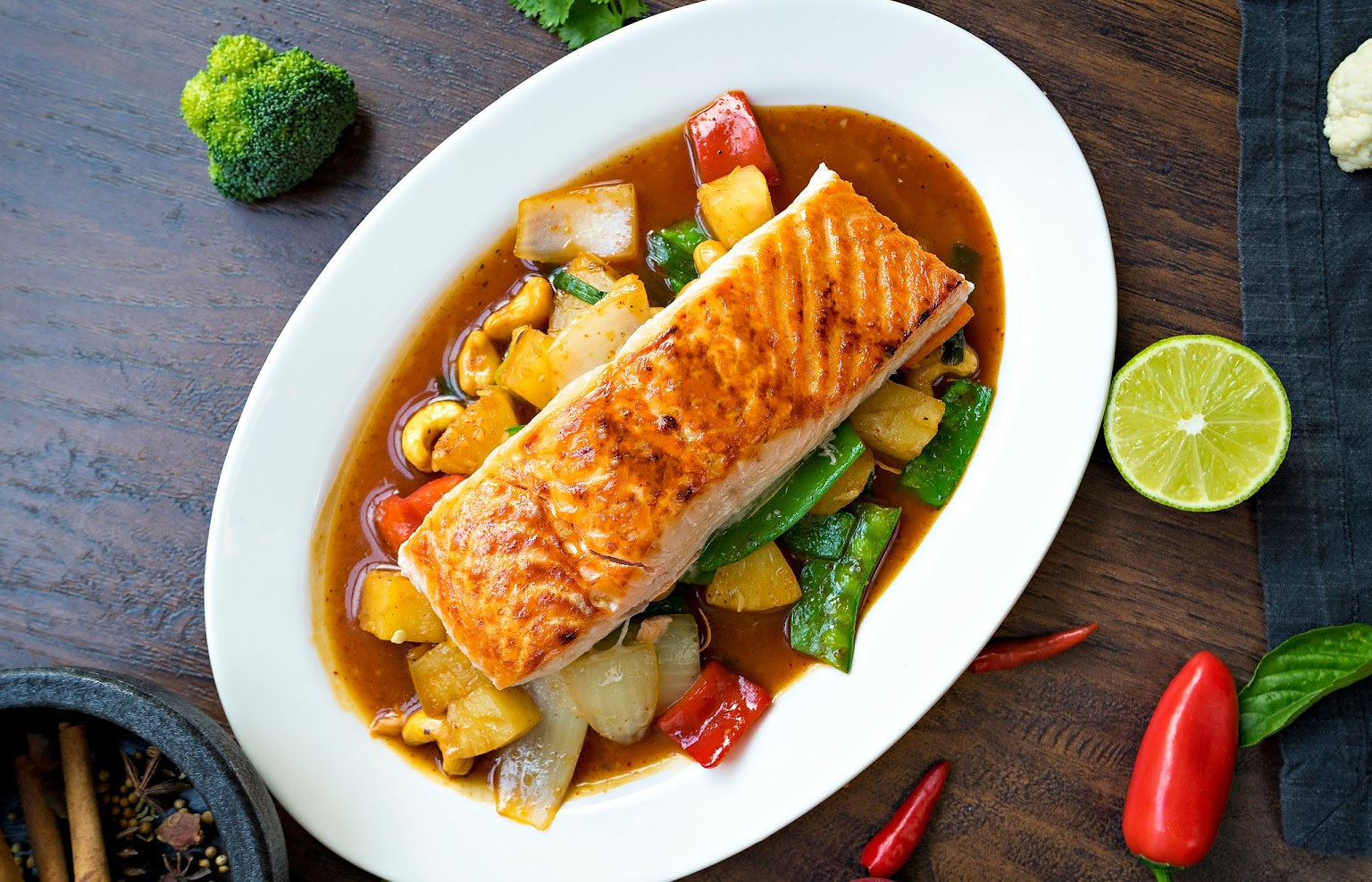 Cashew Nut Sauce served with salmon