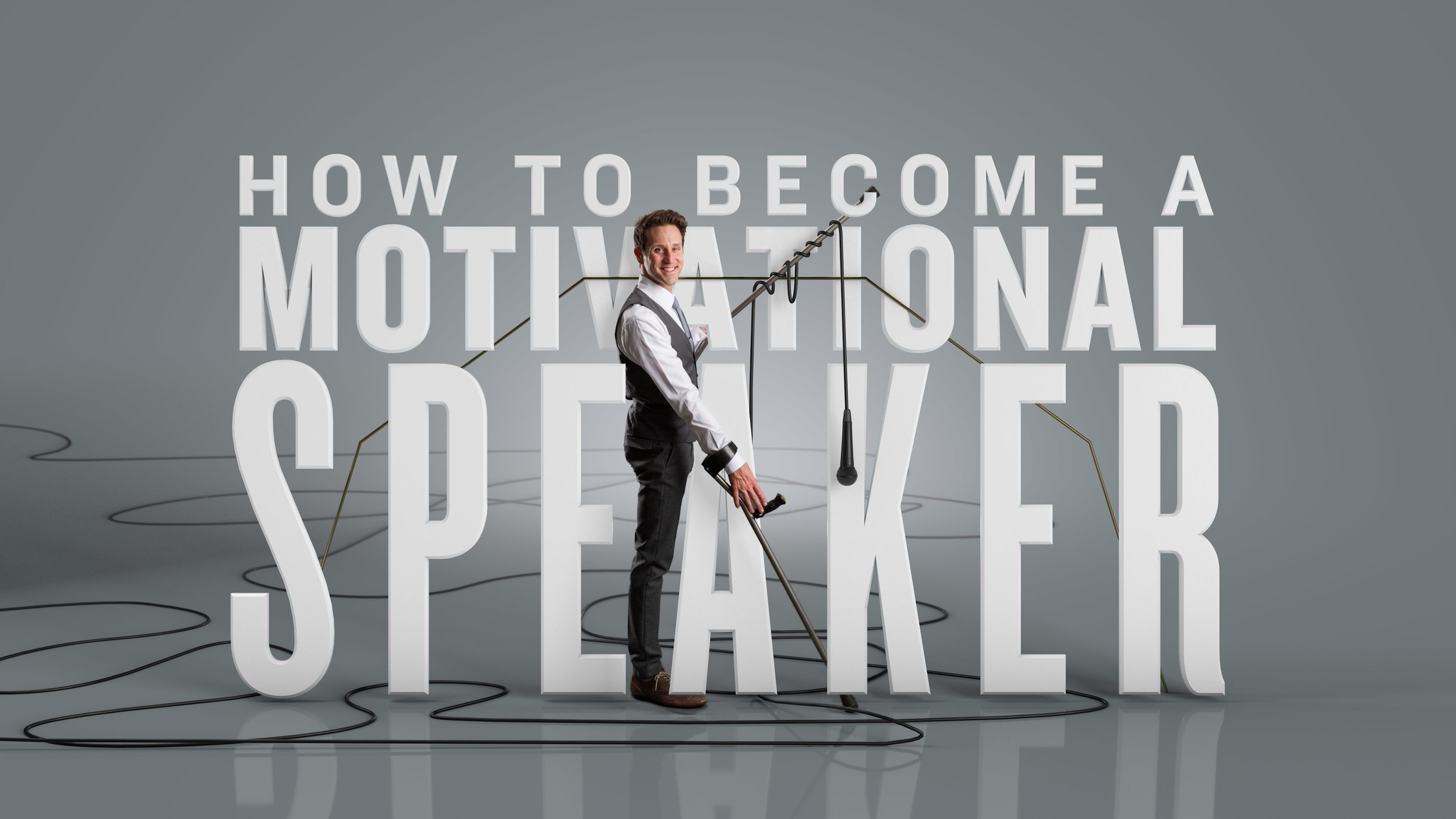 "Josh stands in front of the words ""how to become a motivational speaker"""