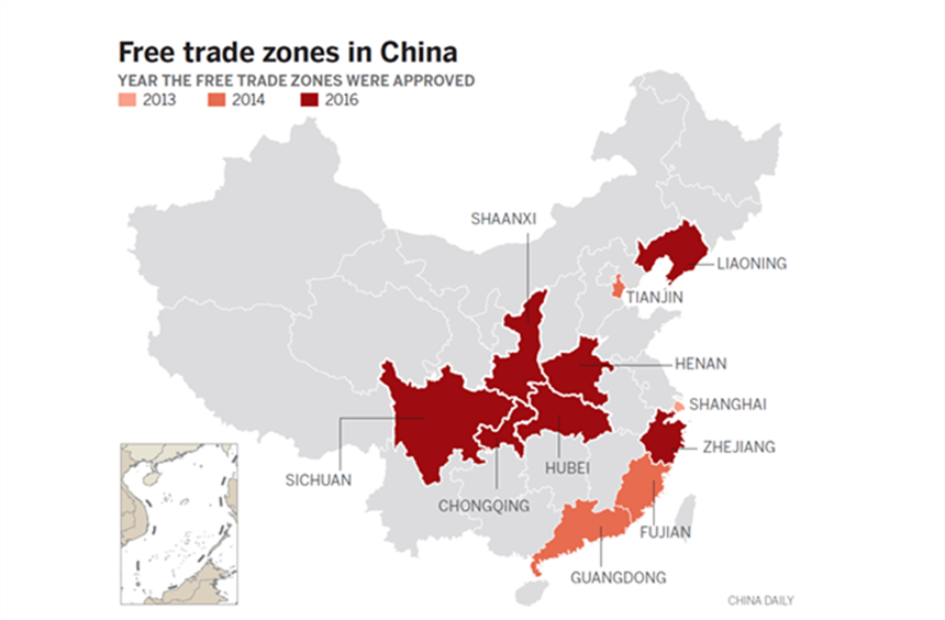 Map of the China trade zones from the  Wall Street Journal
