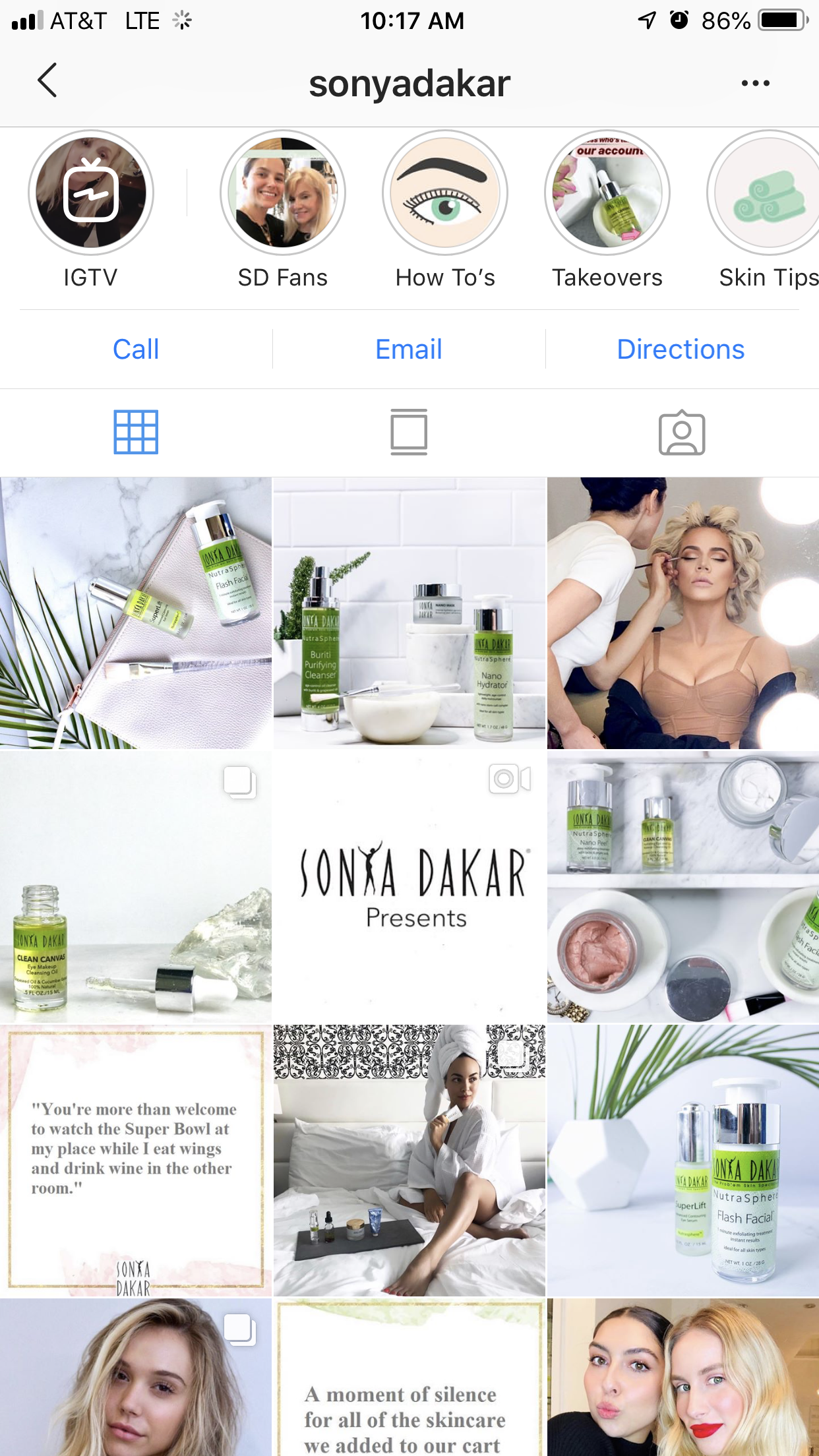 Example of Sonya Dakar Content Feed after using H&H social and visual tactics -