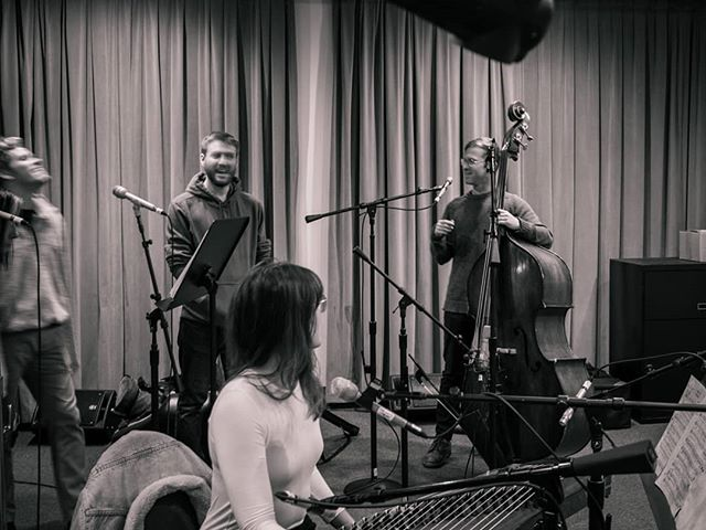 Always cracking jokes between takes . . . @fourlarks #katabasis #experimentalopera #fates #bass #calarts #a112 #recordingstudio