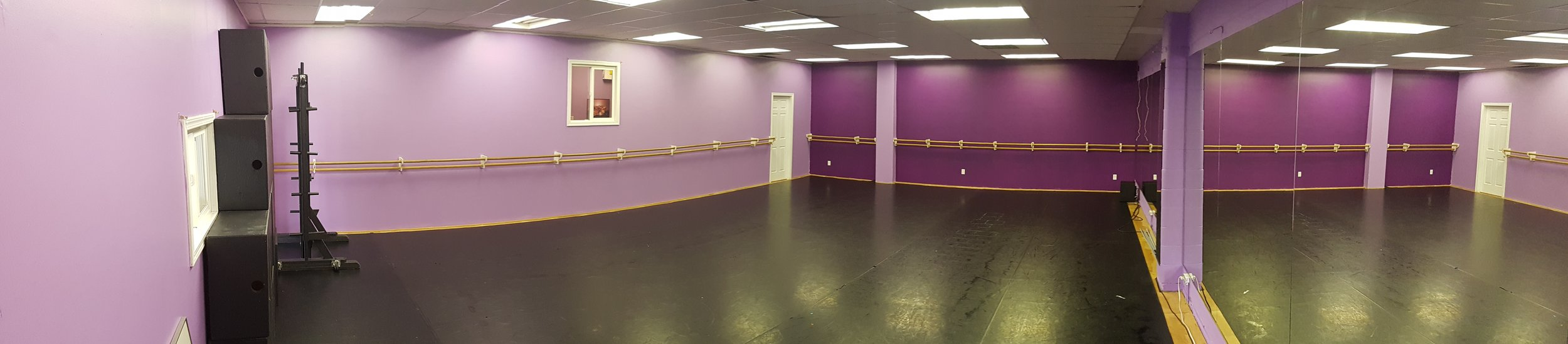 Studio 1 - Currently our largest studio space (prior to the upcoming expansion). Sprung Marley floors.