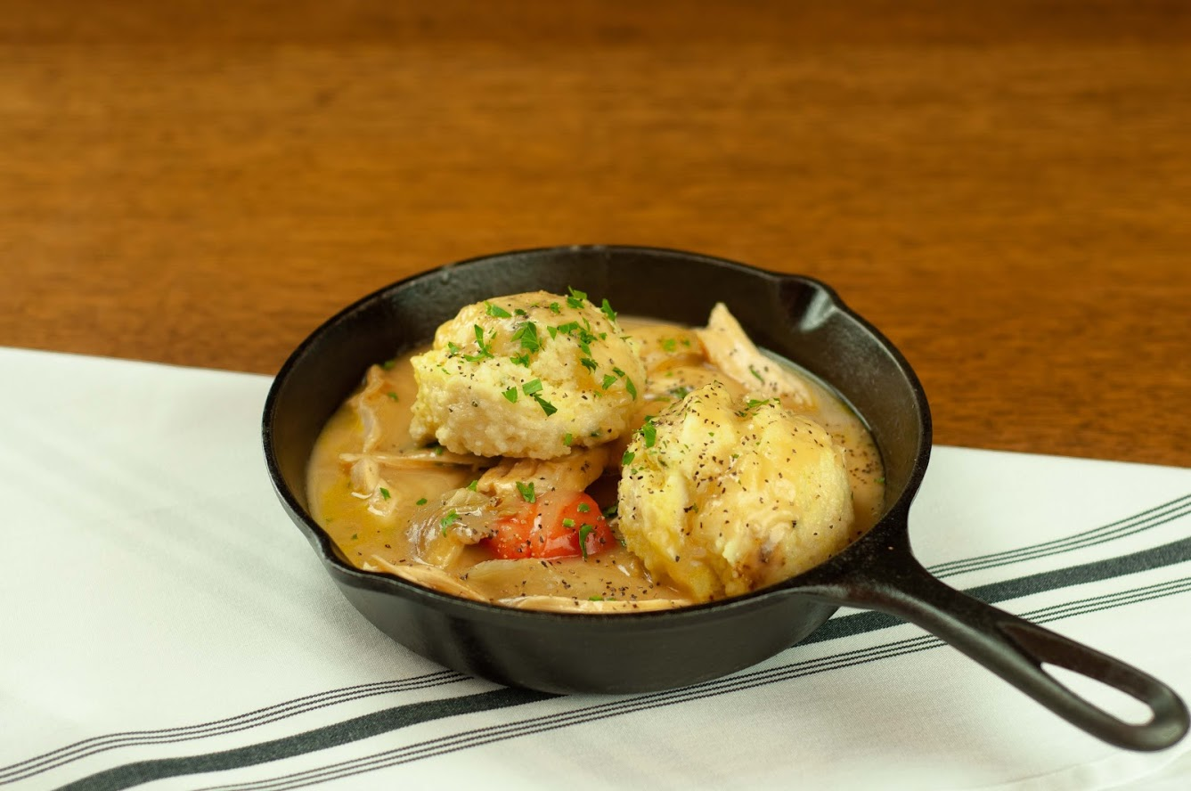 chicken and dumplings in cast iron skillet