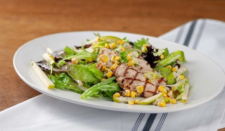 salad with chicken, corn and avocado