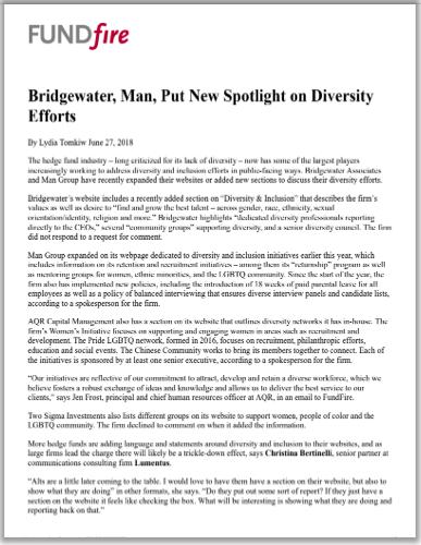 Bridgewater, Man, Put New Spotlight on Diversity Efforts.