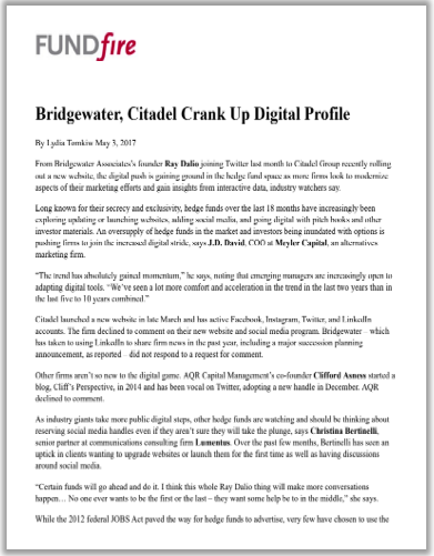 Bridgewater, Citadel Crank Up Digital Profile.