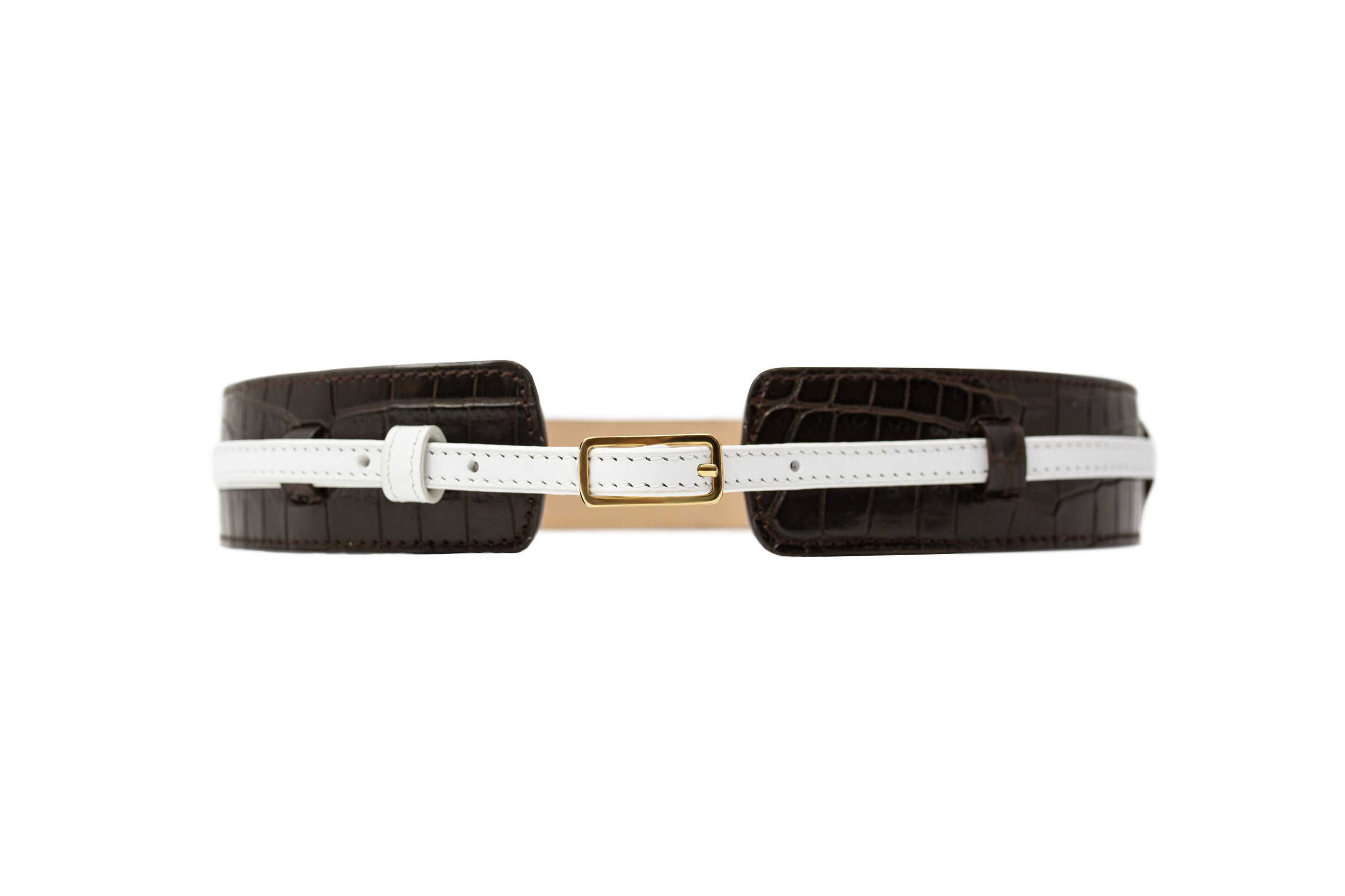 Calie Parese Luxury Crocodile Womens High Waisted Belt in Brown Nile Crocodile and White Nappa Leather