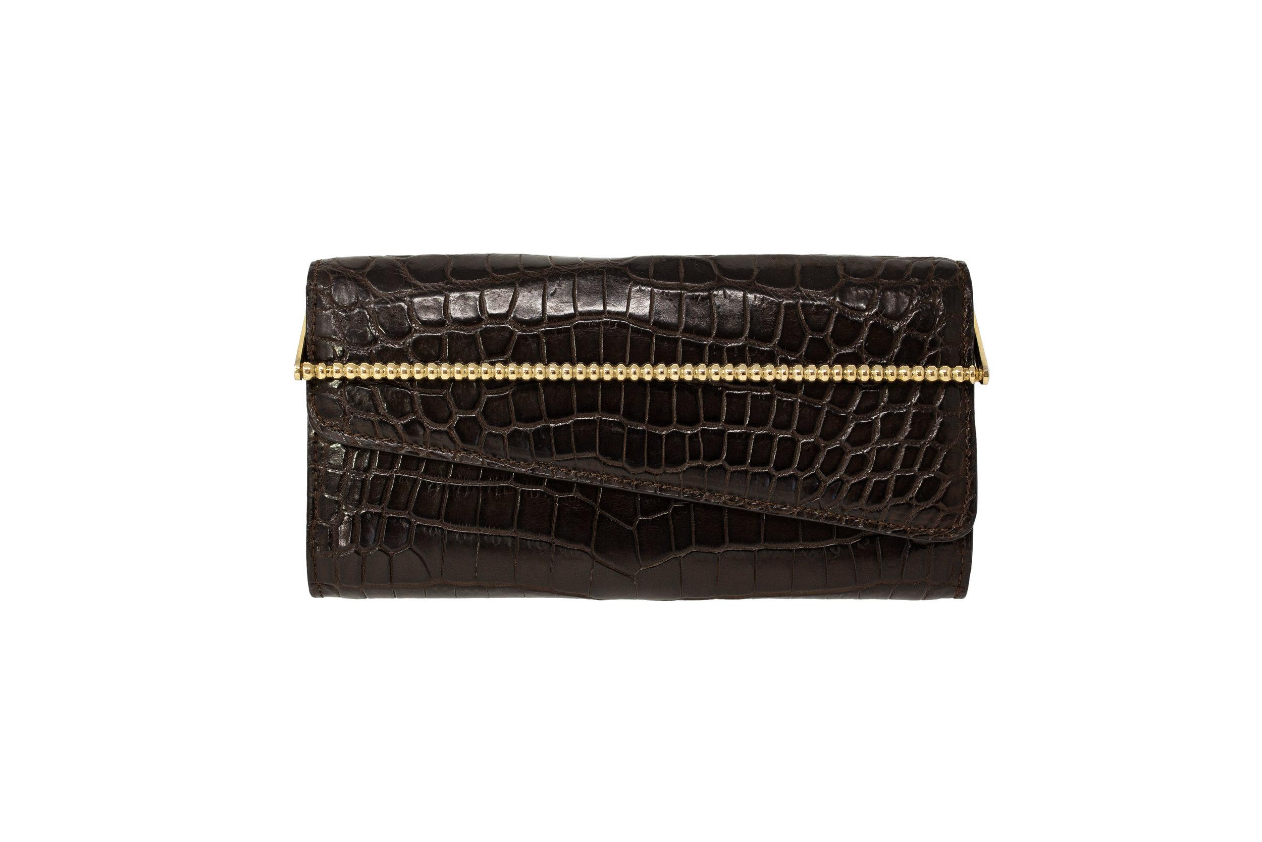 Calie Parese Luxury Crocodile Womens Wallet Brown