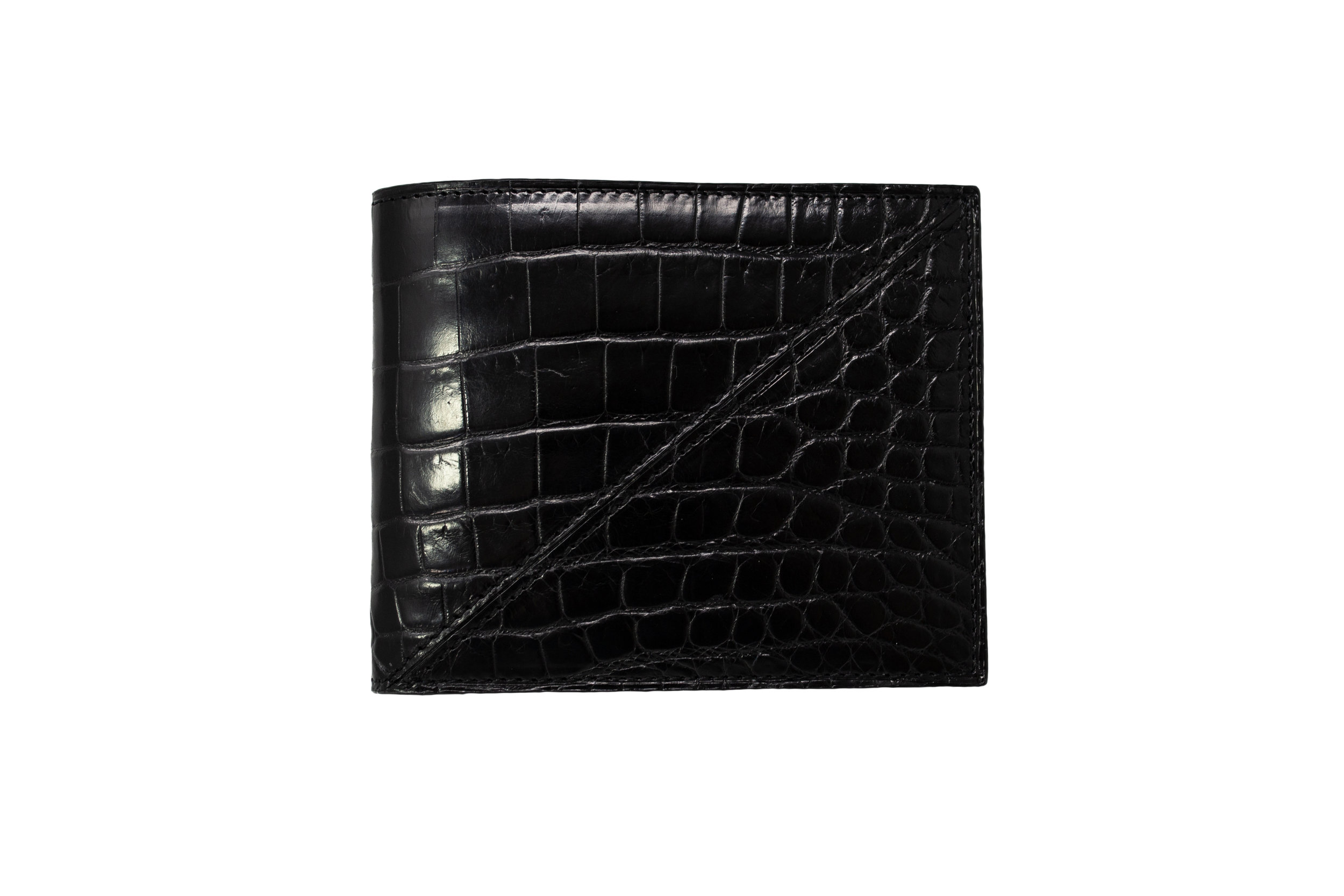 Calie Parese Luxury Crocodile Men's Bi-fold Wallet Black