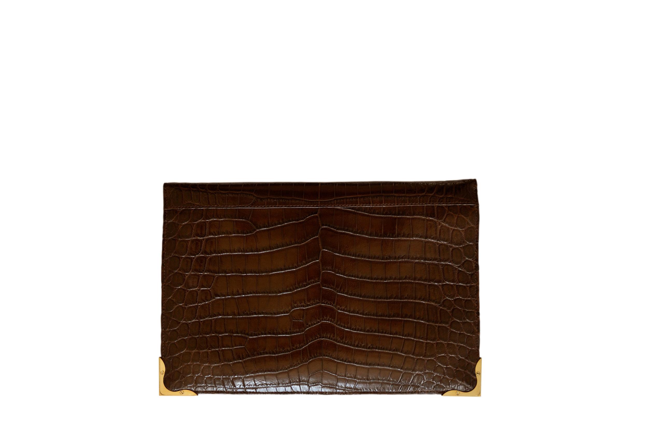 Luxury Brown Crocodile Clutch