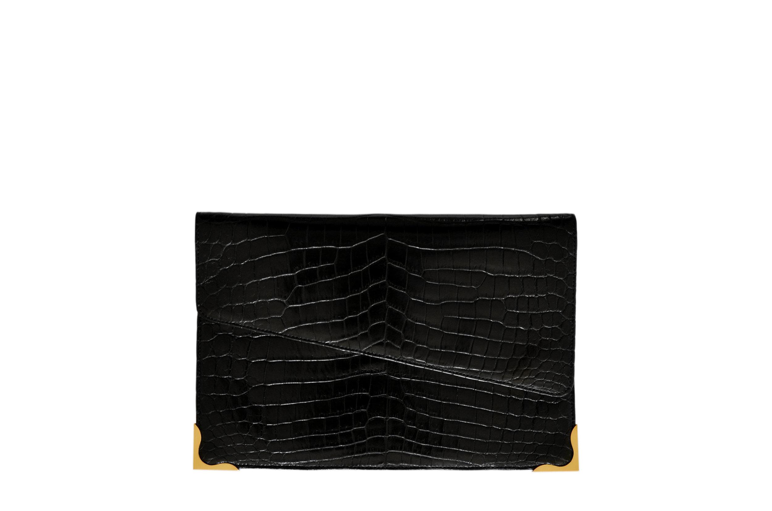 Calie Parese Luxury Crocodile Clutch Black