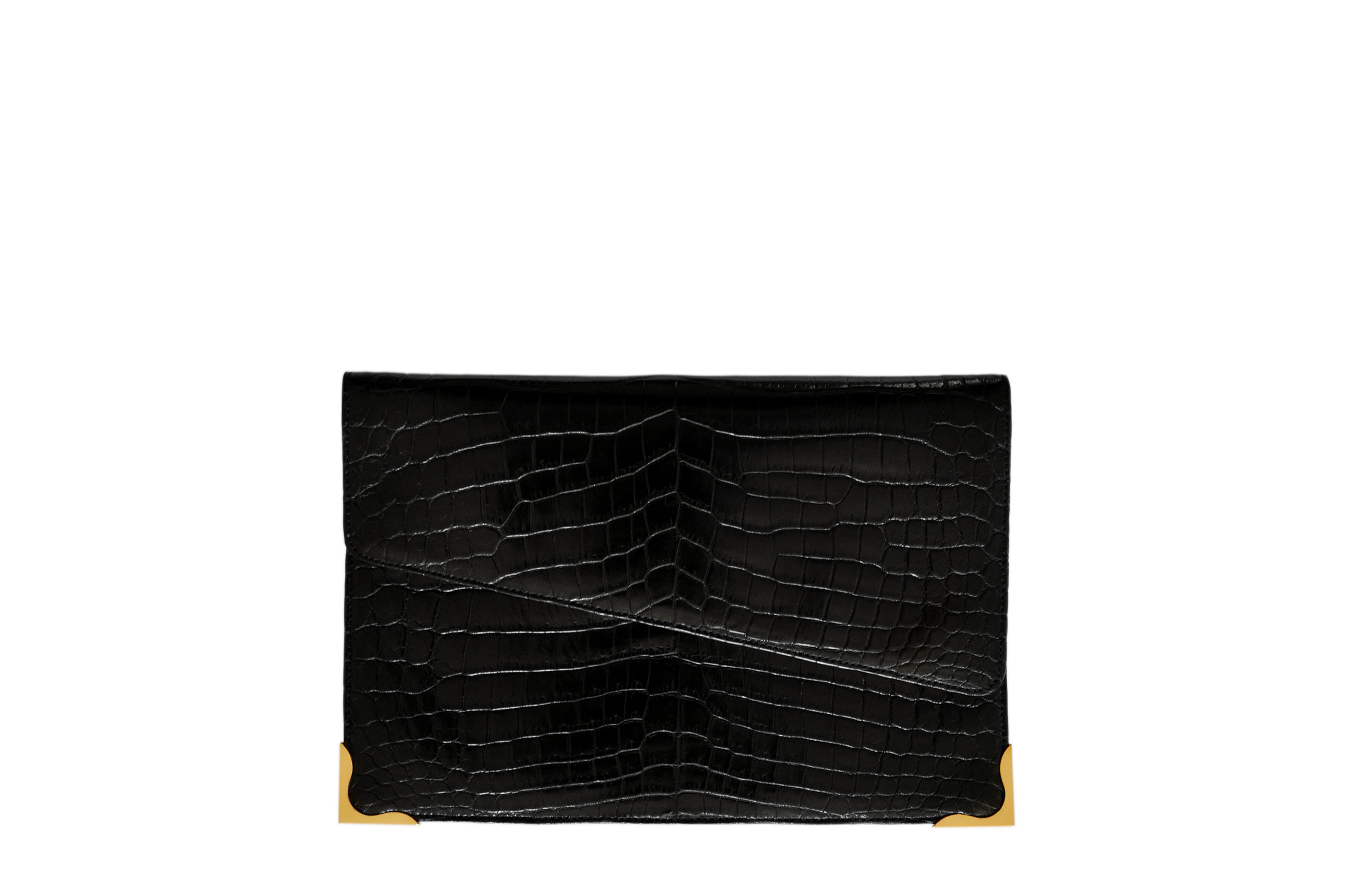 Calie Parese Luxury Crocodile Clutch Bag Black
