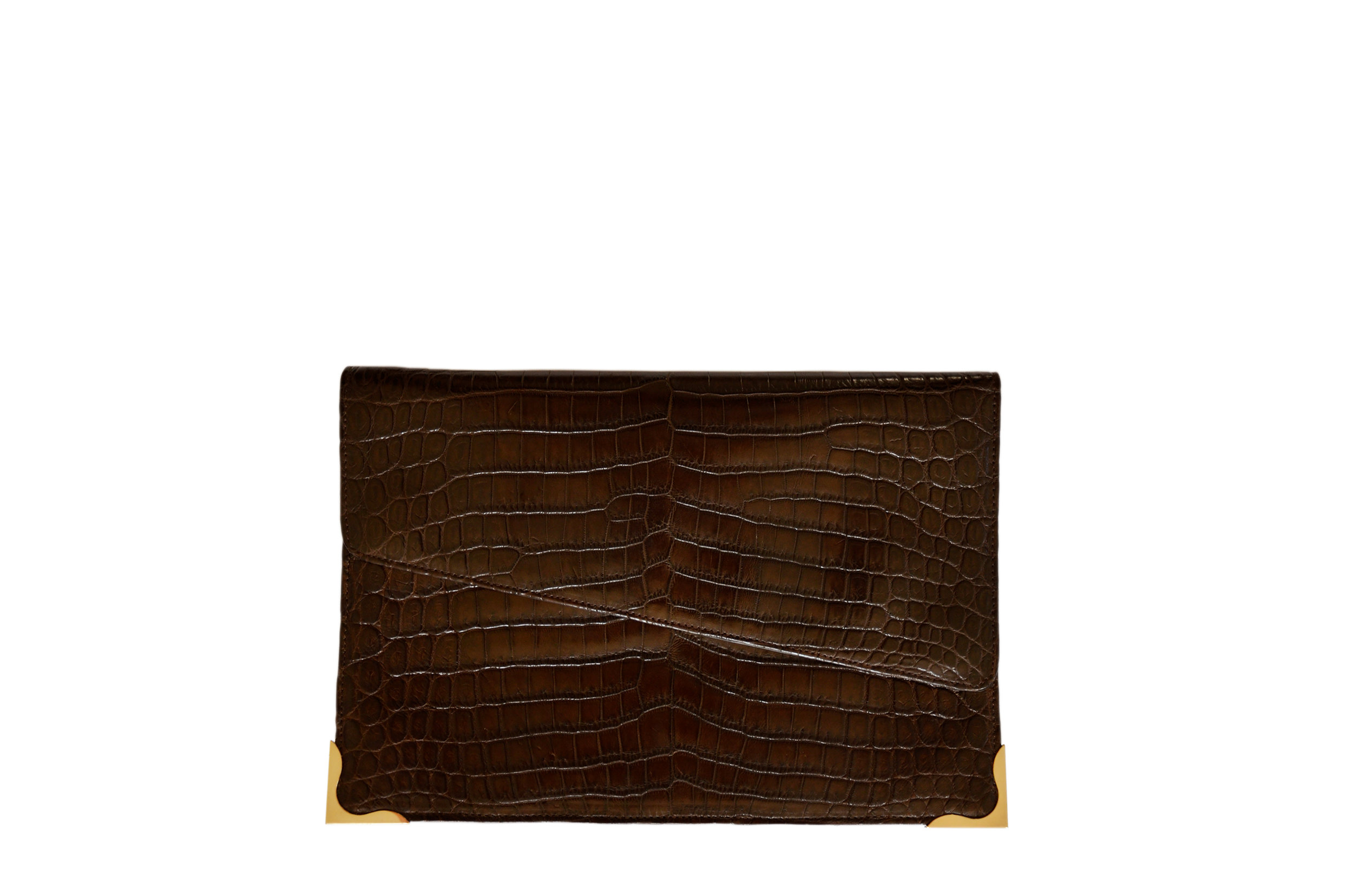 Calie Parese Luxury Crocodile Clutch Bag Brown