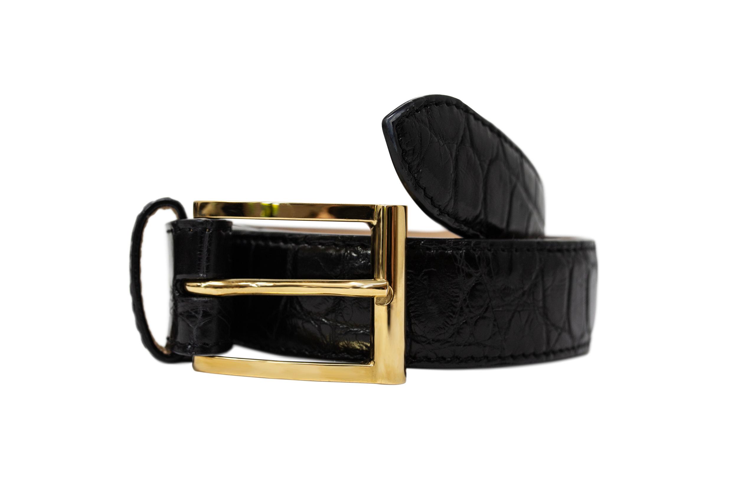 Luxury Black Crocodile Formal Belt