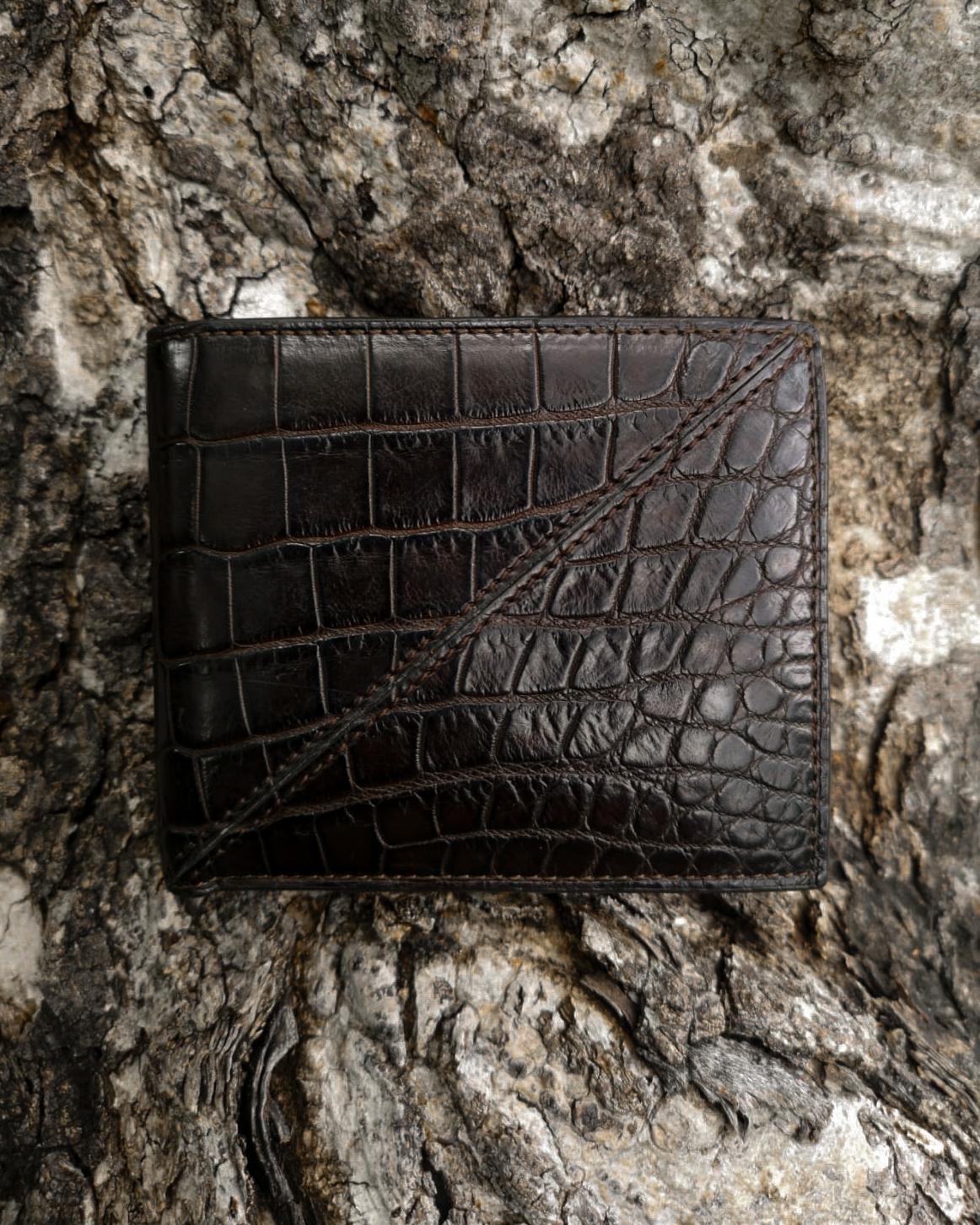 Calie Parese Luxury Crocodile Men's Bi-fold Wallet  Brown