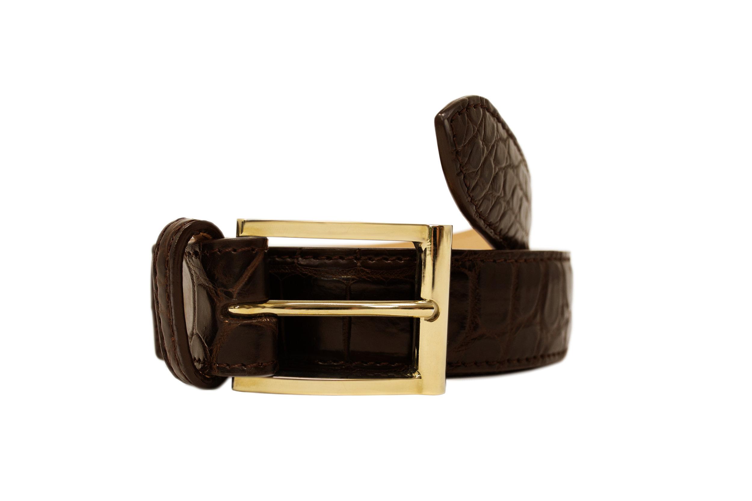 Luxury Brown Crocodile Formal Belt