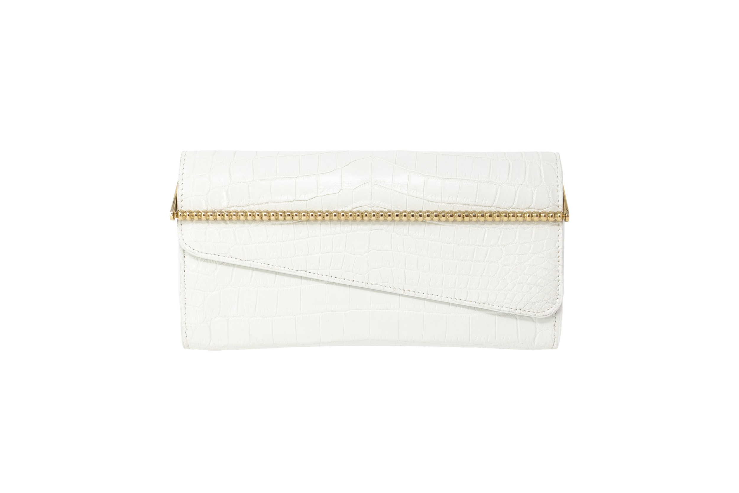 Calie Parese Luxury Crocodile Womens Wallet White