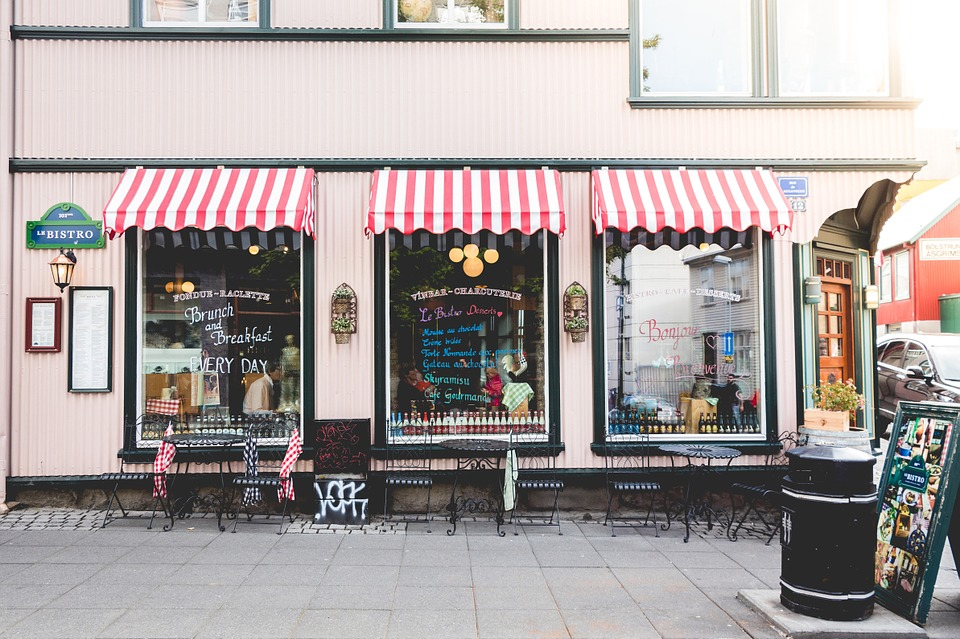 A store front  for a cafe with large windows